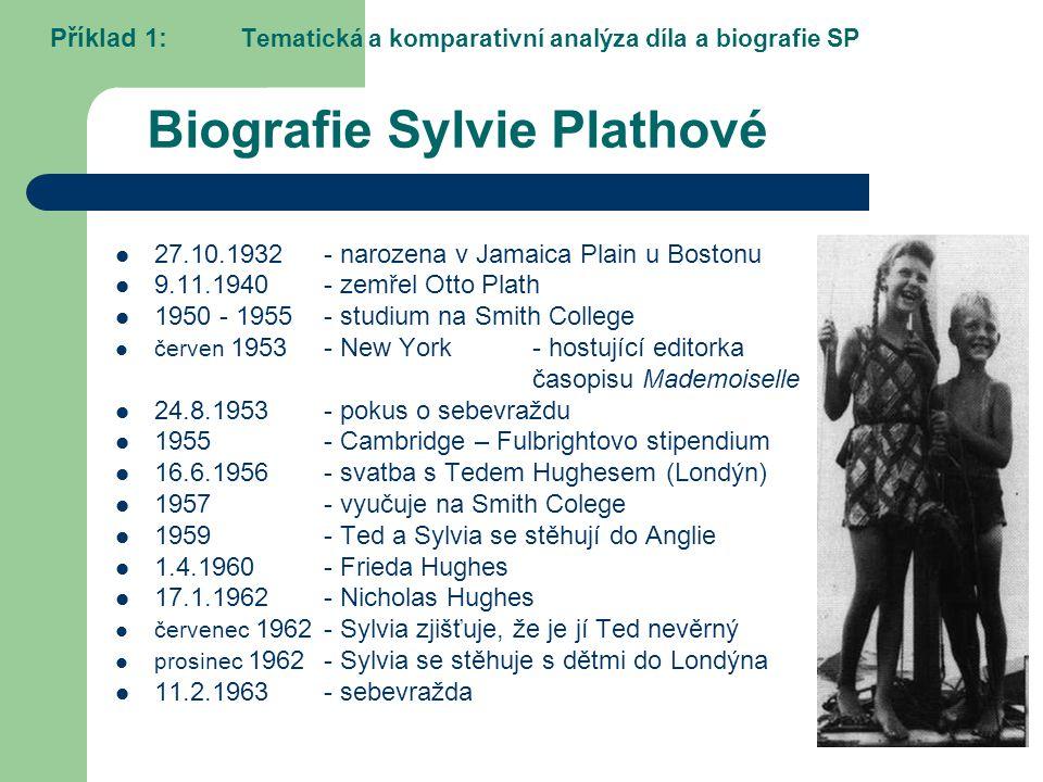 Biografie Sylvie Plathové 27.10.1932- narozena v Jamaica Plain u Bostonu 9.11.1940- zemřel Otto Plath 1950 - 1955- studium na Smith College červen 195