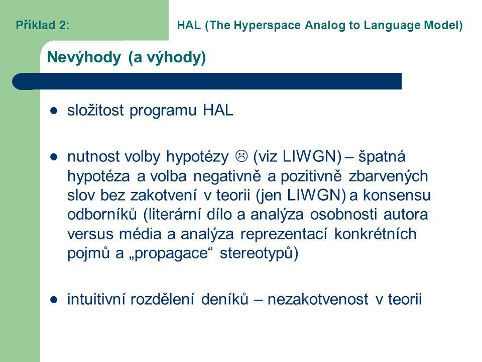 Nevýhody (a výhody) složitost programu HAL nutnost volby hypotézy  (viz LIWGN) – špatná hypotéza a volba negativně a pozitivně zbarvených slov bez za