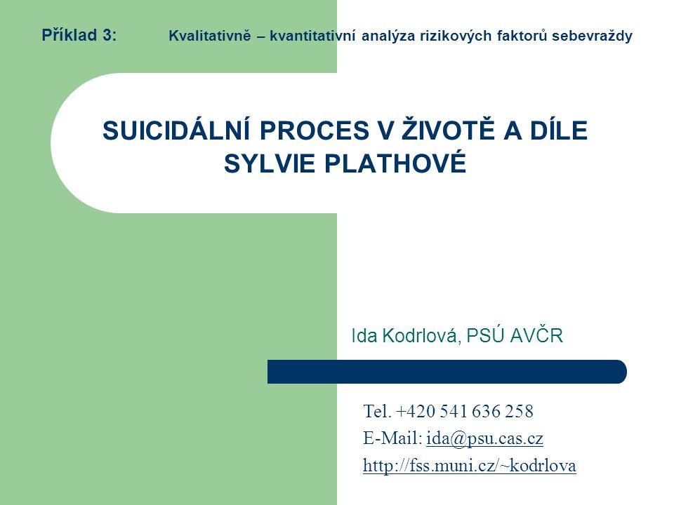 SUICIDÁLNÍ PROCES V ŽIVOTĚ A DÍLE SYLVIE PLATHOVÉ Příklad 3: Kvalitativně – kvantitativní analýza rizikových faktorů sebevraždy Ida Kodrlová, PSÚ AVČR