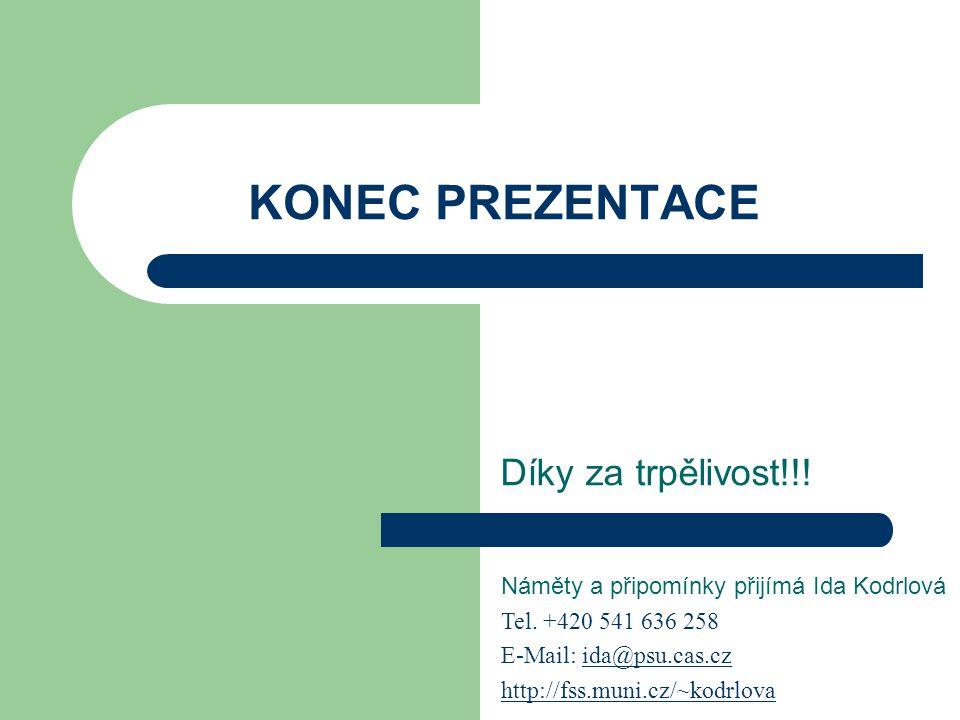 KONEC PREZENTACE Díky za trpělivost!!! Náměty a připomínky přijímá Ida Kodrlová Tel. +420 541 636 258 E-Mail: ida@psu.cas.czida@psu.cas.cz http://fhtt