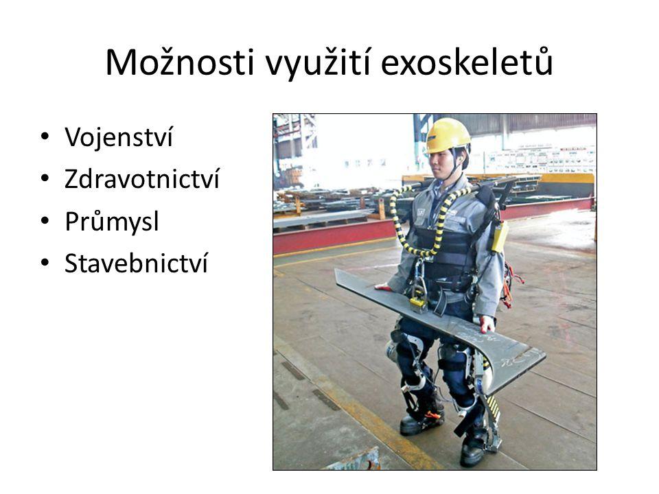 Možnosti využití exoskeletů Vojenství Zdravotnictví Průmysl Stavebnictví
