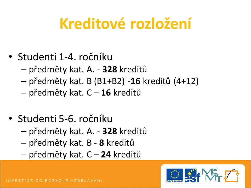 Kreditové rozložení Studenti 1-4. ročníku – předměty kat. A. - 328 kreditů – předměty kat. B (B1+B2) -16 kreditů (4+12) – předměty kat. C – 16 kreditů
