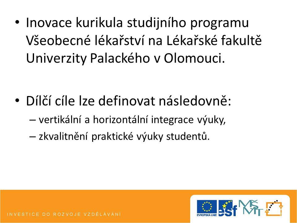 Inovace kurikula studijního programu Všeobecné lékařství na Lékařské fakultě Univerzity Palackého v Olomouci. Dílčí cíle lze definovat následovně: – v