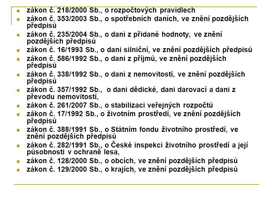 zákon č.218/2000 Sb., o rozpočtových pravidlech zákon č.