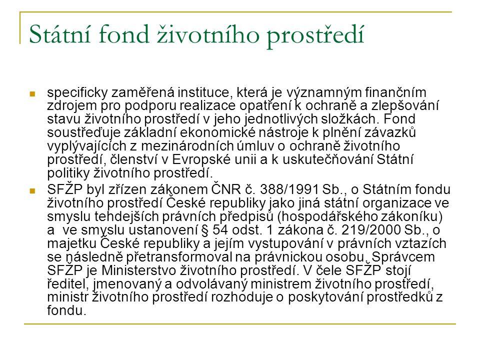 Státní fond životního prostředí specificky zaměřená instituce, která je významným finančním zdrojem pro podporu realizace opatření k ochraně a zlepšov