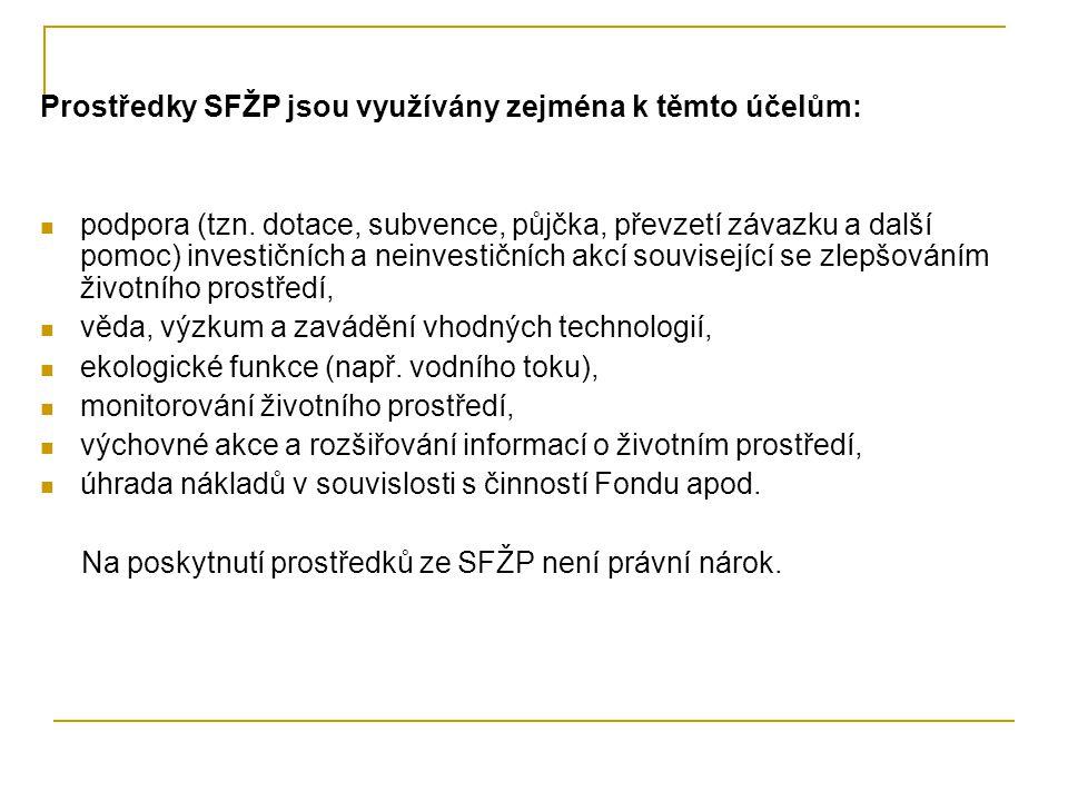 Prostředky SFŽP jsou využívány zejména k těmto účelům: podpora (tzn. dotace, subvence, půjčka, převzetí závazku a další pomoc) investičních a neinvest