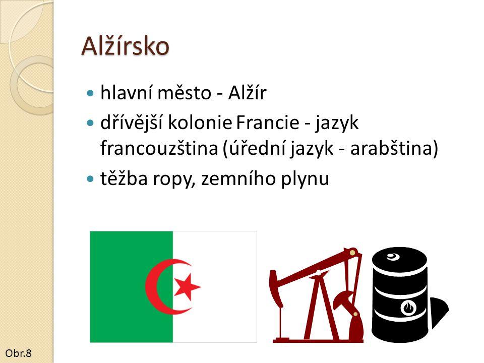 Alžírsko hlavní město - Alžír dřívější kolonie Francie - jazyk francouzština (úřední jazyk - arabština) těžba ropy, zemního plynu Obr.8