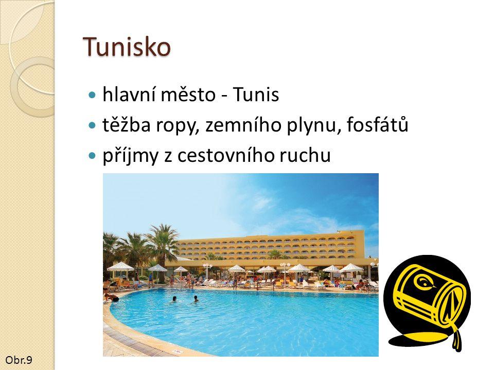 Tunisko hlavní město - Tunis těžba ropy, zemního plynu, fosfátů příjmy z cestovního ruchu Obr.9