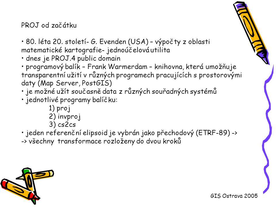 Možnosti PostGISu PostGIS definuje: 1) standardní typ objektů 2) funkce pro manipulaci s objekty 3) tabulky pro metadata: * GEOMETRY_COLUMNS (geometrie, dimenze, souřadný systém) * SPATIAL_REF_SYS (souřadný systém, jednotlivá zobrazení, manipulace se souřadným systémem pomocí PROJ knihovny) Zachována konzistence geodat s jejich metadaty.