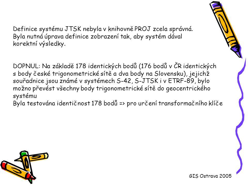 Helmertova transformace (použito 174 bodů kampaně DOPNUL) GIS Ostrava 2005