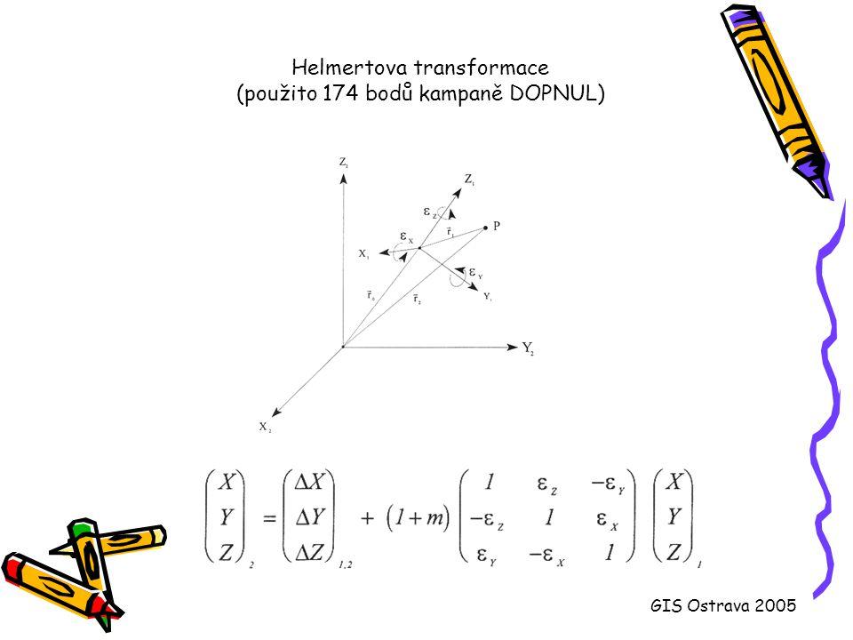 PROJ a srovnání s MATKARTem [Y,X] S-JTSK -> ,  Bessel -> [ , ] ETRF-89 (WGS-84) Číslo bodu Y[m]X[m]Proj/Matkart  Bessel Proj/Matkart  Bessel 104775279.261069759.4949 48 34.21914 01 33.620 119768146.941155180.2749 03 28.18914 17 16.865 221804332.201060930.0849 51 01.36113 36 31.077 404702797.091042769.0550 08 17.28214 58 35.311 510646145.871067707.2349 58 42.61015 48 16.950 Hodnoty zeměpisné šířky a délky na Besselově elipsoidu pomocí PROJ a MATKARTu GIS Ostrava 2005