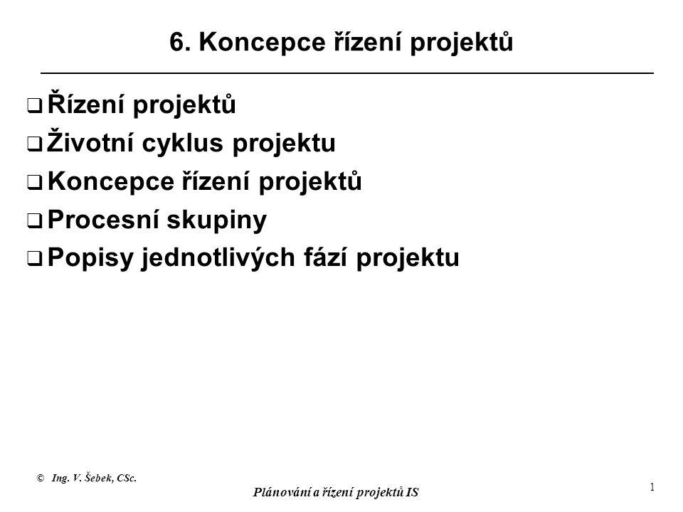 © Ing. V. Šebek, CSc. Plánování a řízení projektů IS 1 6. Koncepce řízení projektů  Řízení projektů  Životní cyklus projektu  Koncepce řízení proje
