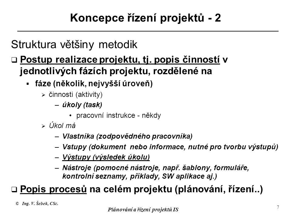 © Ing. V. Šebek, CSc. Plánování a řízení projektů IS 7 Koncepce řízení projektů - 2 Struktura většiny metodik  Postup realizace projektu, tj. popis č
