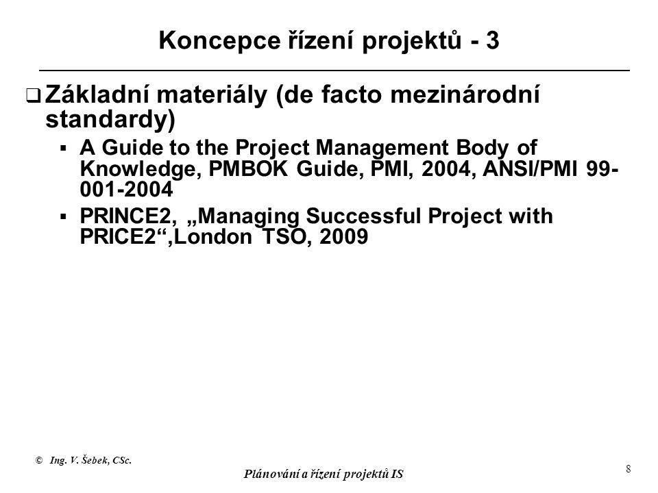 © Ing. V. Šebek, CSc. Plánování a řízení projektů IS 8 Koncepce řízení projektů - 3  Základní materiály (de facto mezinárodní standardy)  A Guide to