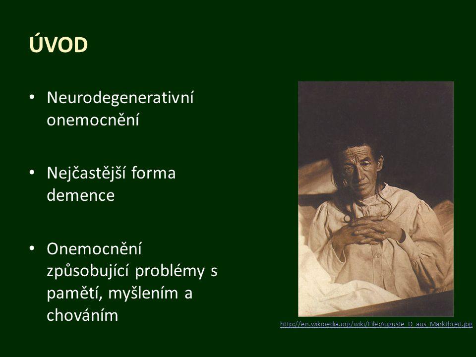 ÚVOD Neurodegenerativní onemocnění Nejčastější forma demence Onemocnění způsobující problémy s pamětí, myšlením a chováním http://en.wikipedia.org/wik