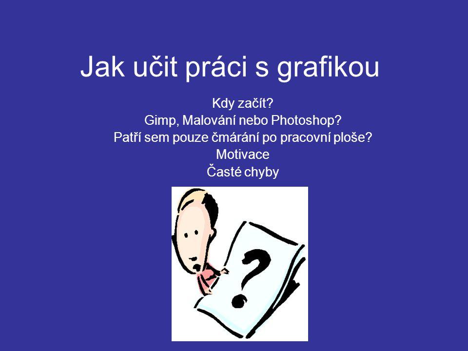 Jak učit práci s grafikou Kdy začít.Gimp, Malování nebo Photoshop.