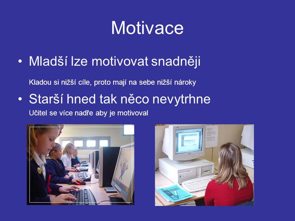 Motivace Mladší lze motivovat snadněji Kladou si nižší cíle, proto mají na sebe nižší nároky Starší hned tak něco nevytrhne Učitel se více nadře aby je motivoval