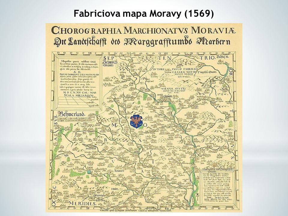 Komenského mapa Moravy (1627)  .Ukažte na mapě její hlavní části:  .
