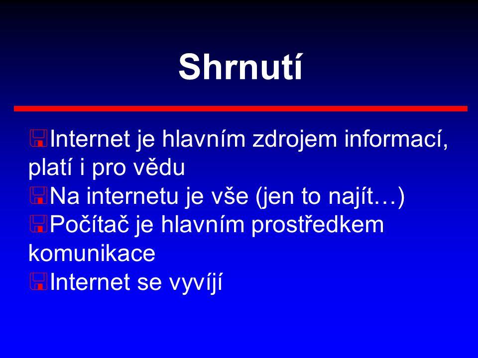 Shrnutí <Internet je hlavním zdrojem informací, platí i pro vědu <Na internetu je vše (jen to najít…) <Počítač je hlavním prostředkem komunikace <Internet se vyvíjí