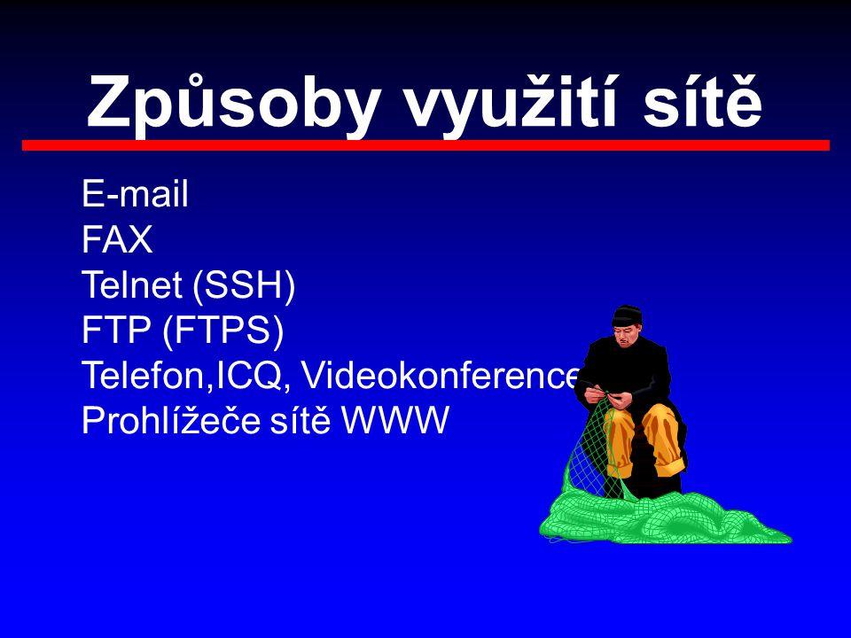 Způsoby využití sítě E-mail FAX Telnet (SSH) FTP (FTPS) Telefon,ICQ, Videokonference Prohlížeče sítě WWW