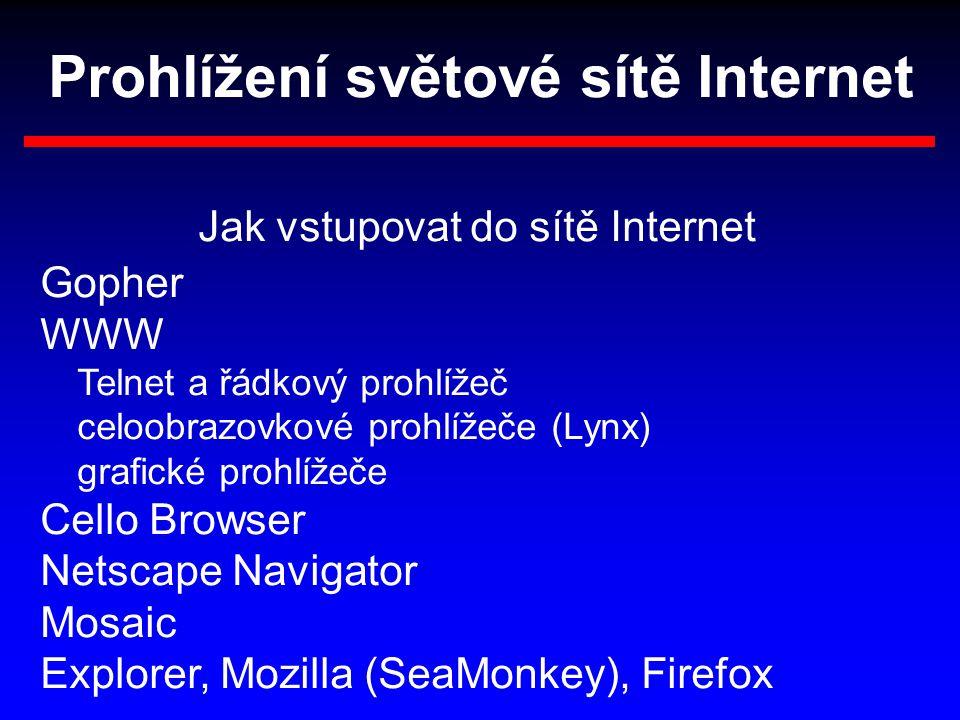 Prohlížení světové sítě Internet Jak vstupovat do sítě Internet Gopher WWW Telnet a řádkový prohlížeč celoobrazovkové prohlížeče (Lynx) grafické prohlížeče Cello Browser Netscape Navigator Mosaic Explorer, Mozilla (SeaMonkey), Firefox