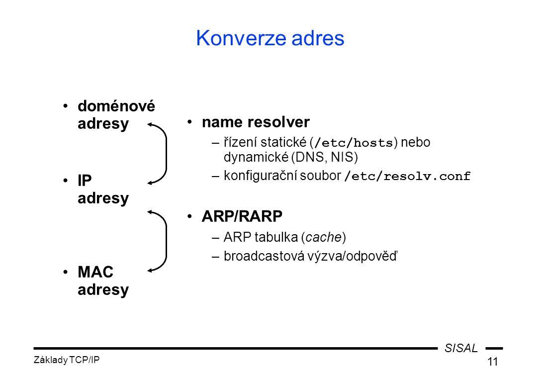 SISAL Základy TCP/IP 11 Konverze adres name resolver –řízení statické ( /etc/hosts ) nebo dynamické (DNS, NIS) –konfigurační soubor /etc/resolv.conf A
