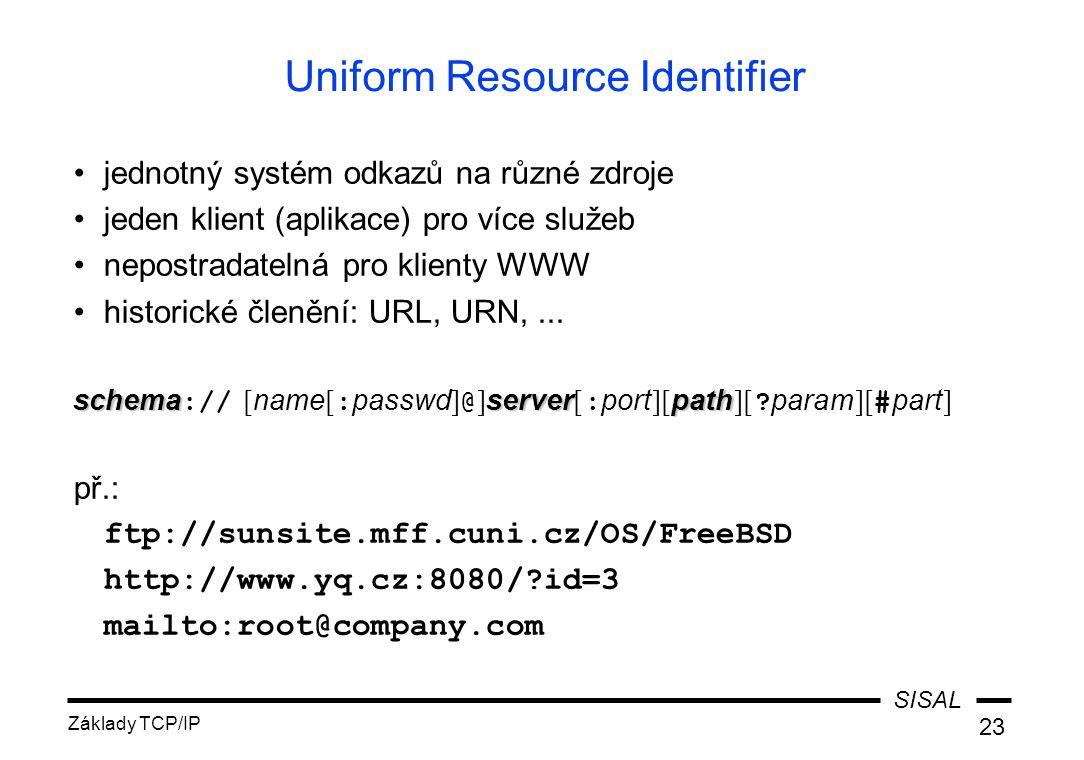 SISAL Základy TCP/IP 23 Uniform Resource Identifier jednotný systém odkazů na různé zdroje jeden klient (aplikace) pro více služeb nepostradatelná pro