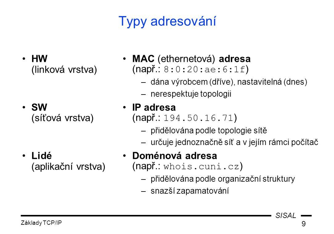 SISAL Základy TCP/IP 9 Typy adresování HW (linková vrstva) SW (síťová vrstva) Lidé (aplikační vrstva) MAC (ethernetová) adresa (např.: 8:0:20:ae:6:1f