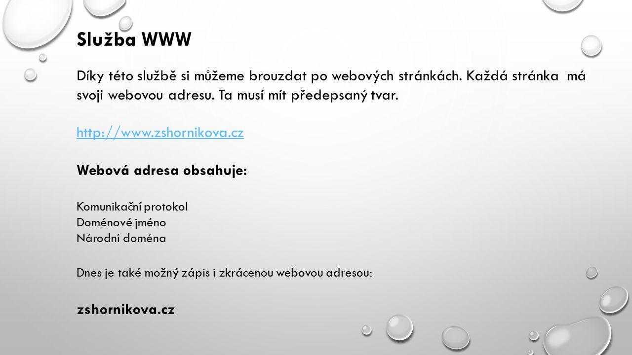 Služba WWW Díky této službě si můžeme brouzdat po webových stránkách.
