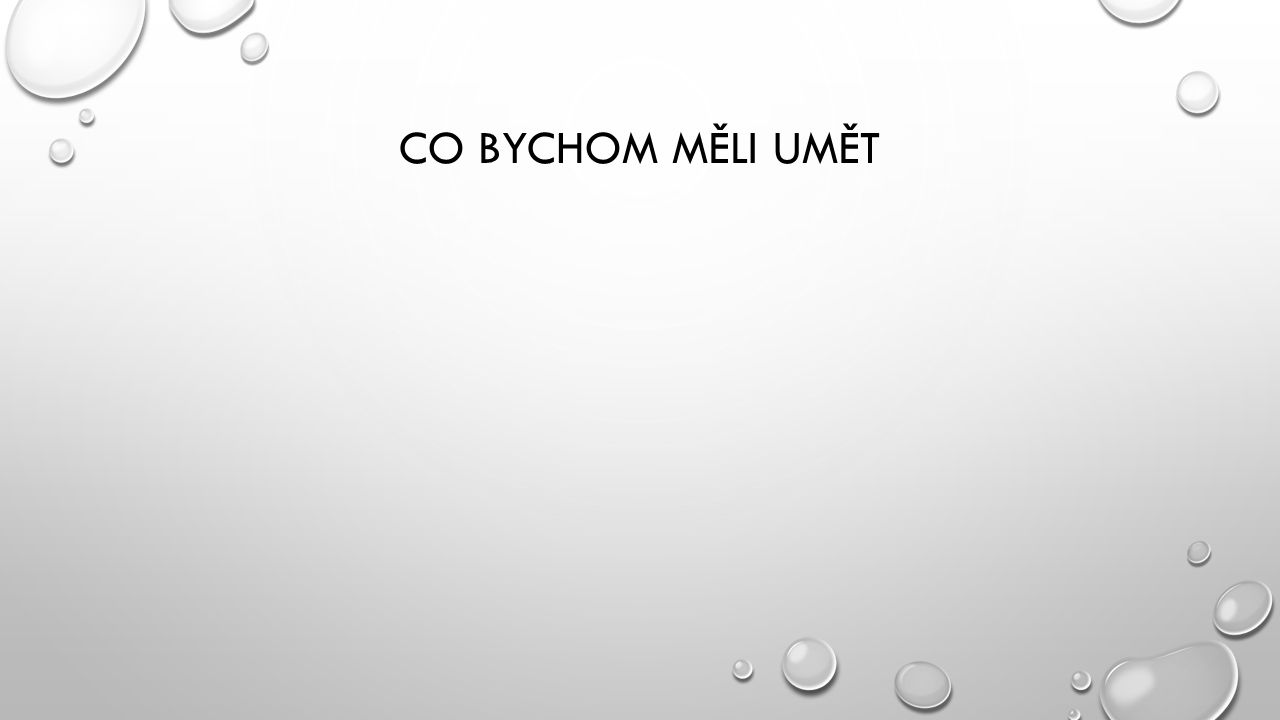CO BYCHOM MĚLI UMĚT