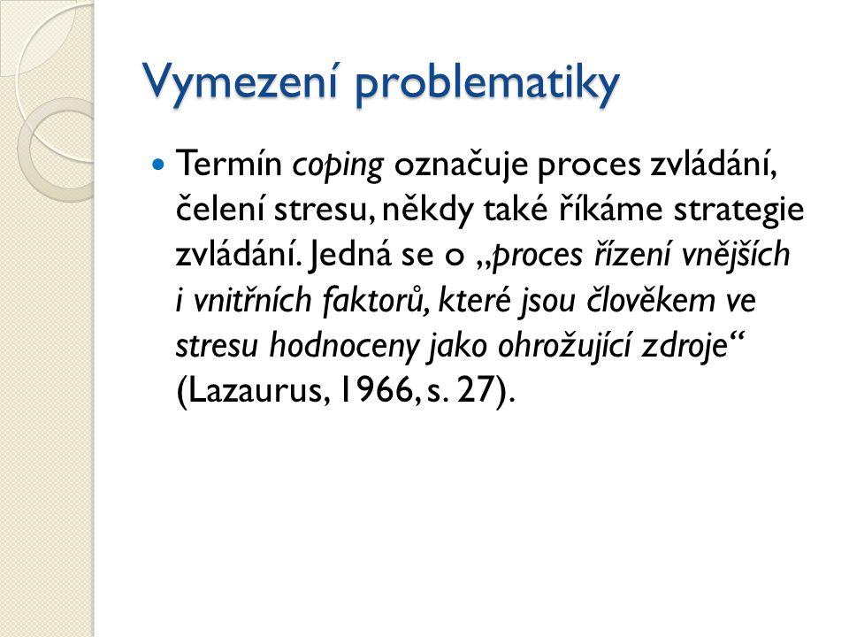 Vymezení problematiky Termín coping označuje proces zvládání, čelení stresu, někdy také říkáme strategie zvládání.