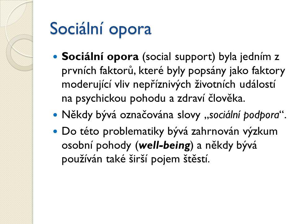 Sociální opora Sociální opora (social support) byla jedním z prvních faktorů, které byly popsány jako faktory moderující vliv nepříznivých životních událostí na psychickou pohodu a zdraví člověka.