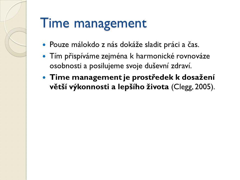 Time management Pouze málokdo z nás dokáže sladit práci a čas.