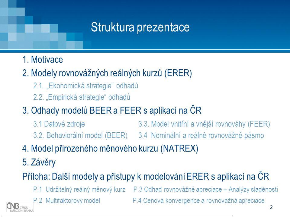 2 Struktura prezentace 1.Motivace 2. Modely rovnovážných reálných kurzů (ERER) 2.1.