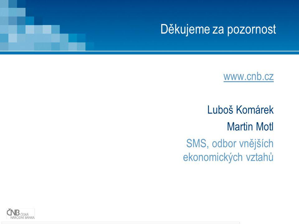 Děkujeme za pozornost www.cnb.cz Luboš Komárek Martin Motl SMS, odbor vnějších ekonomických vztahů