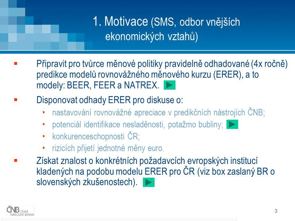 3 1. Motivace (SMS, odbor vnějších ekonomických vztahů)  Připravit pro tvůrce měnové politiky pravidelně odhadované (4x ročně) predikce modelů rovnov