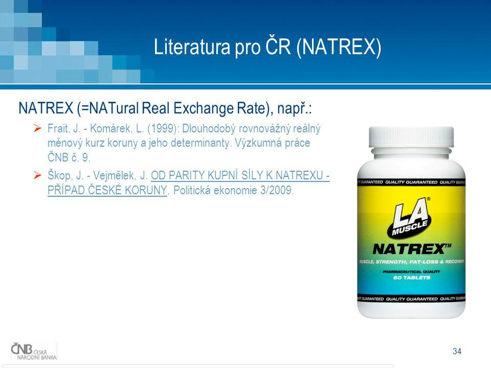 34 Literatura pro ČR (NATREX) NATREX (=NATural Real Exchange Rate), např.:  Frait, J.