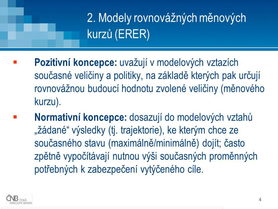 4 2. Modely rovnovážných měnových kurzů (ERER)  Pozitivní koncepce: uvažují v modelových vztazích současné veličiny a politiky, na základě kterých pa