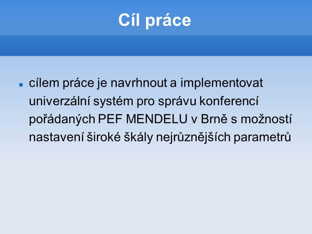 Cíl práce cílem práce je navrhnout a implementovat univerzální systém pro správu konferencí pořádaných PEF MENDELU v Brně s možností nastavení široké škály nejrůznějších parametrů