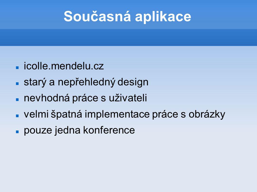 Současná aplikace icolle.mendelu.cz starý a nepřehledný design nevhodná práce s uživateli velmi špatná implementace práce s obrázky pouze jedna konference