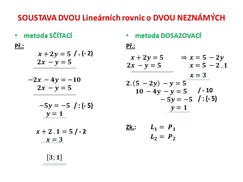 SOUSTAVA DVOU Lineárních rovnic o DVOU NEZNÁMÝCH