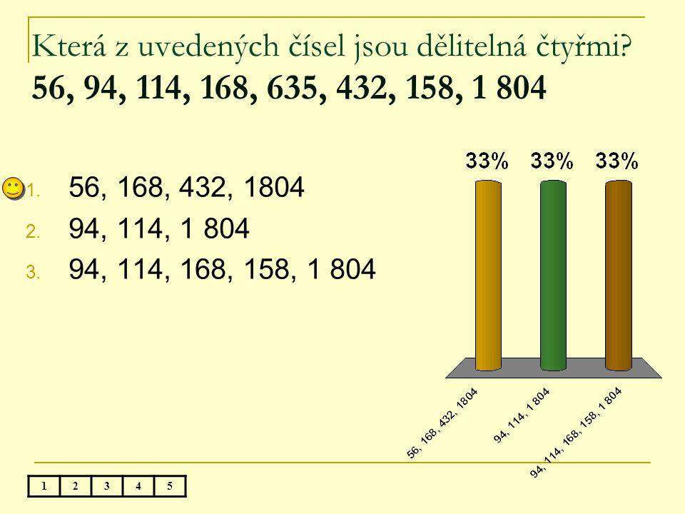 Všechny dělitele čísla 28 jsou: 1. 1, 2, 4, 7,14, 28 2. 2, 4, 7, 14 3. 1, 3, 4, 7, 28 12345