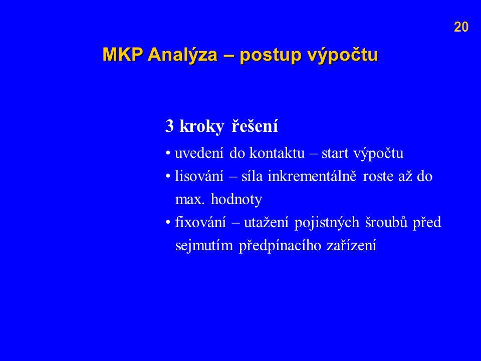MKP Analýza – postup výpočtu 3 kroky řešení uvedení do kontaktu – start výpočtu lisování – síla inkrementálně roste až do max. hodnoty fixování – utaž