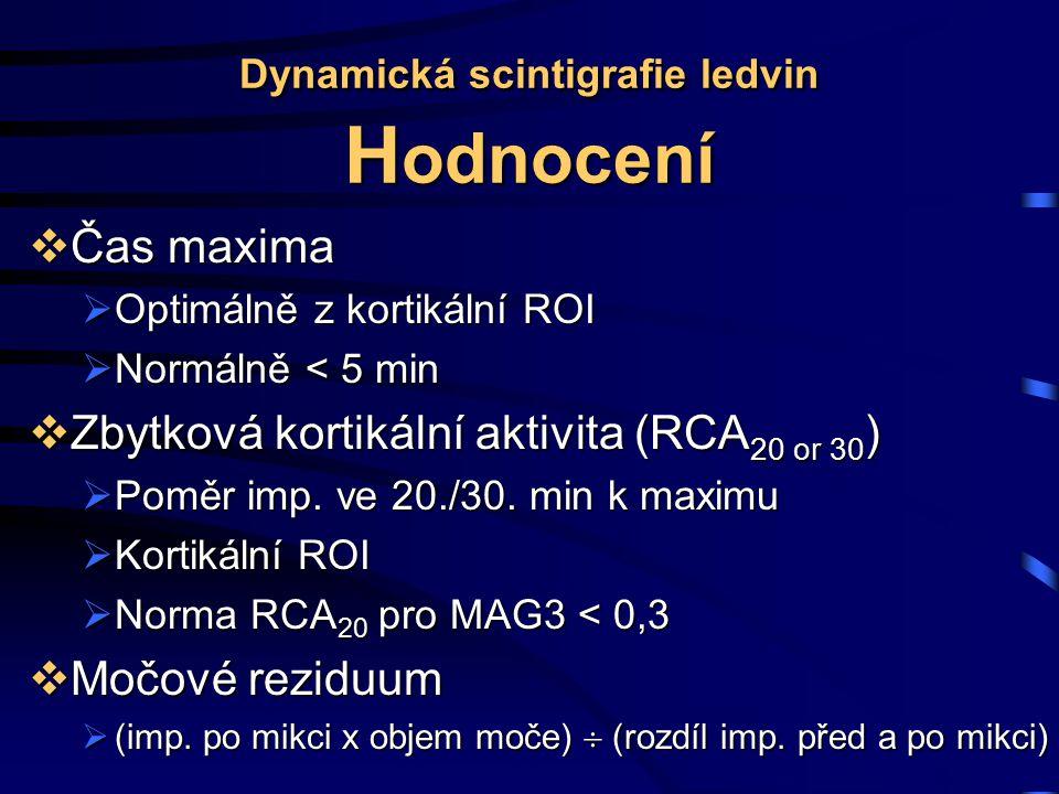 Dynamická scintigrafie ledvin H odnocení  Čas maxima  Optimálně z kortikální ROI  Normálně < 5 min  Zbytková kortikální aktivita (RCA 20 or 30 )  Poměr imp.
