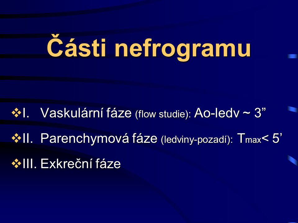 """Části nefrogramu  I.Vaskulární fáze (flow studie): Ao-ledv ~ 3""""  II.Parenchymová fáze (ledviny-pozadí): T max < 5'  III.Exkreční fáze"""