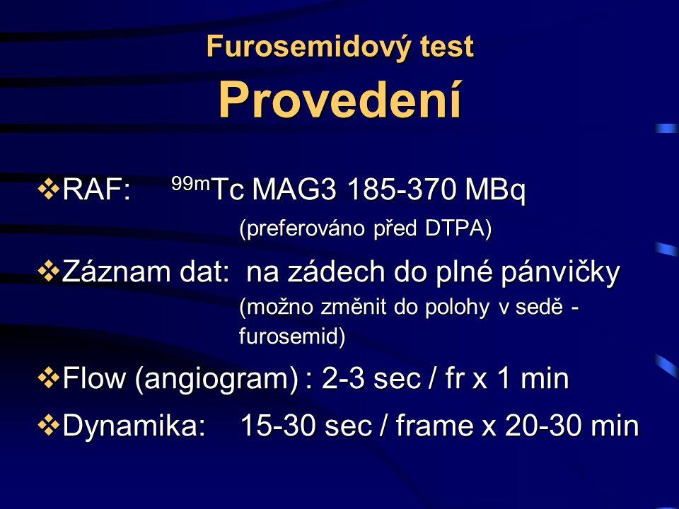 Furosemidový test Provedení  RAF: 99m Tc MAG3 185-370 MBq (preferováno před DTPA)  Záznam dat: na zádech do plné pánvičky (možno změnit do polohy v sedě - furosemid)  Flow (angiogram) : 2-3 sec / fr x 1 min  Dynamika: 15-30 sec / frame x 20-30 min