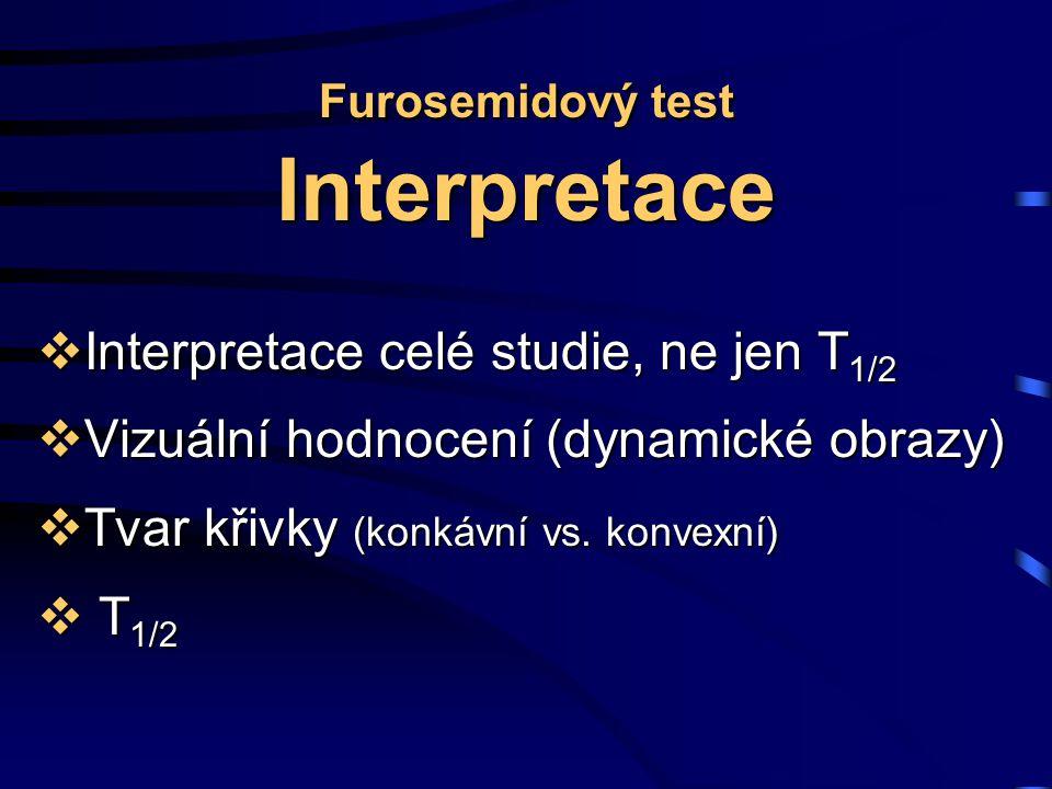 Furosemidový test Interpretace  Interpretace celé studie, ne jen T 1/2  Vizuální hodnocení (dynamické obrazy)  Tvar křivky (konkávní vs.