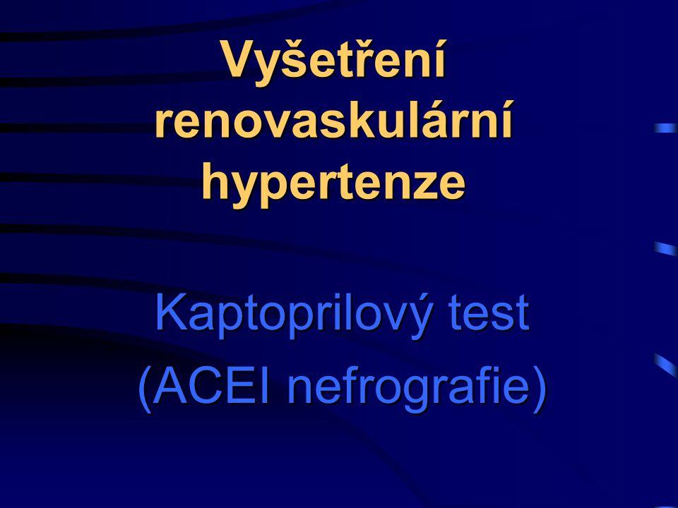 Kaptoprilový test (ACEI nefrografie) Vyšetření renovaskulární hypertenze