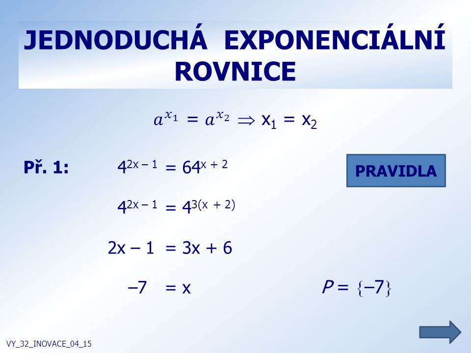 JEDNODUCHÁ EXPONENCIÁLNÍ ROVNICE VY_32_INOVACE_04_15 Př. 1:4 2x – 1 = 64 x + 2 4 2x – 1 = 4 3(x + 2) 2x – 1 = 3x + 6 –7= x P =  –7  PRAVIDLA
