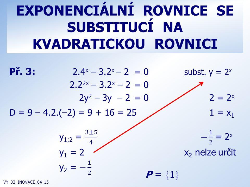 EXPONENCIÁLNÍ ROVNICE SE SUBSTITUCÍ NA KVADRATICKOU ROVNICI VY_32_INOVACE_04_15 P =  1 
